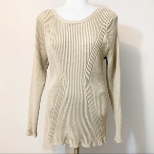 Lane Bryant Gold Fitted Ribbed Sweater Size 22 24